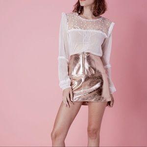 For Love & Lemons Luna Metallic Skirt Gold XS